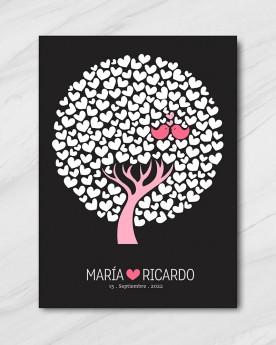 """Cuadro de firmas """"Pink Tree"""""""