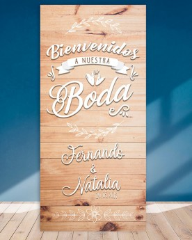 Cartel boda Wood