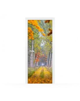 Vinilo Puerta Autumn Road