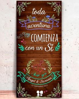 """Cartel boda """"Aventura II"""""""