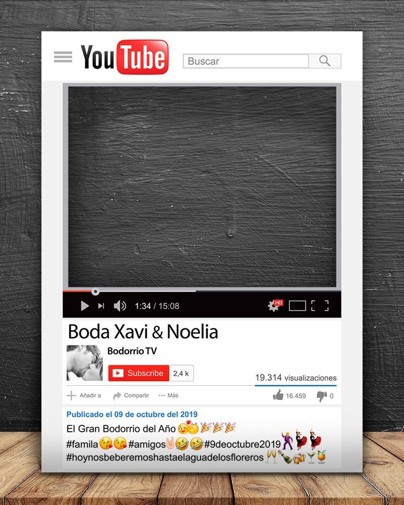 Photocall Youtube personalizado para bodas, cumpleaños, aniversarios y eventos en general.