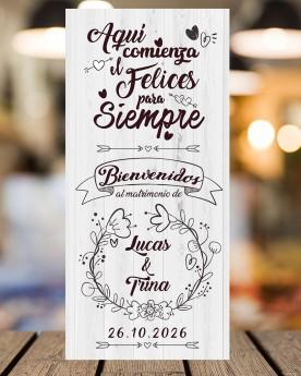 Cartel boda Felices para...
